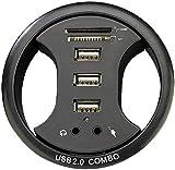 Xystec Einbau USB Hub: Tisch-Kabeldose 80 mm, mit USB-Hub, Card-Reader&Audioanschluss (USB Hub Einbau Tischplatte)