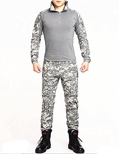 NoGa Tarnkleidungsset bestehend aus Jacke und Hose, mit Camouflage-Muster, Militär-Stil, weich, atmungsaktiv, verschleißfest, Acu Camouflage, M