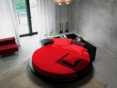 SCALABEDDING rund Bettlaken mit Kissenbezüge, 300TC 100% ägyptische Baumwolle King 96cm Durchmesser Solid Blut rot
