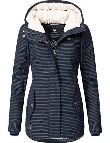 Ragwear Damen Winterparka Winterjacke Monade Blau gestreift Gr. XL