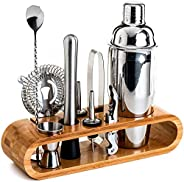 SKY-TOUCH 11-Piece Bar Tool Set with Stylish Bamboo Stand - Perfect Home Bartending Kit and Martini Cocktail S