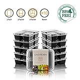 Amazy Meal Prep Container 10er Set | 3 Fächer – Wiederverwendbare Lunch Box zur Vorbereitung und Portionierung von Mahlzeiten (10 Stück, 900 ml)