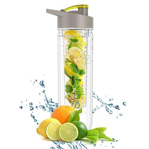 SlimCenter Fruit Infuser Water Bottle | Ideal fürs Gym & Fitness | Infused Water Bottle für Detox | Trink-Flasche mit Obst-und Gemüse-Einsatz im Wasser für strahlende Gesundheit und einen fitten Körper | Water Bottle Infuser für Ingwer, Gurke und Beeren etc.