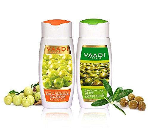Natürliches Amla / Stachelbeere Shampoo, mit Shikakai - Reetha Oliv Conditioner Haarspülung Avocado-Extrakte, für Haarausfall, Kopfhautfeuchtigkeitstherapie , Pflege Schuppen und Haarwuchs. Geeignet für alle Haartypen - Value Pack 2 X 110ml, von Vaadi Herbals. (Pflege Value Pack)