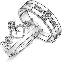 Emorias 1 Pair Anillo de Plata Corona Pareja Amor Eterno Diamante Boda Compromiso Aleación Ajustable Mujer