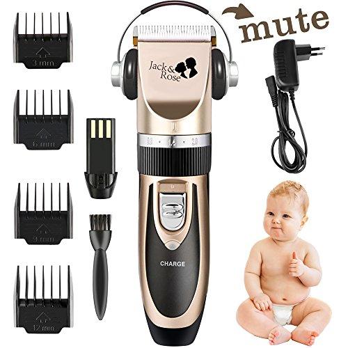 Jack & Rose Profi Elektrische Haarschneidemaschine Wiederaufladbare Haarschneider Set Haartrimmerset Haartrimmer mit 4 Trimmaufsätzen für Kinder und Herren