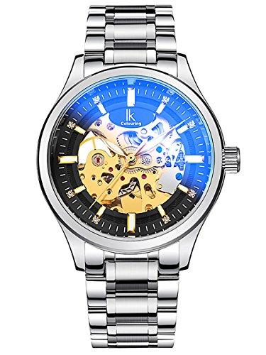 Alienwork Automatik Armbanduhr Herren Damen Uhr Edelstahl Armband Metallarmband Metallband silber Automatikuhr Herrenuhr Damenuhr schwarz
