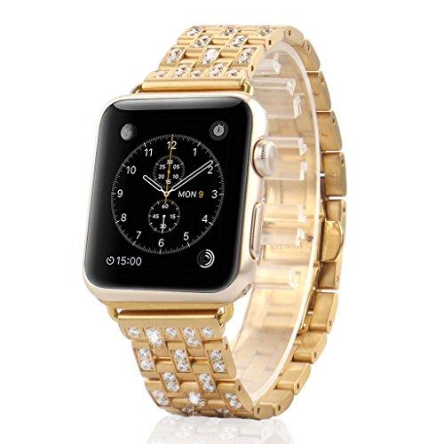 AWStech Luxus Design für Apple Watch Armband Champagne Gold 42mm Jewelry Band Swarovski Kristall Strass Bracelet Edelstahl Ersatzband Uhrenarmband Replacement für...