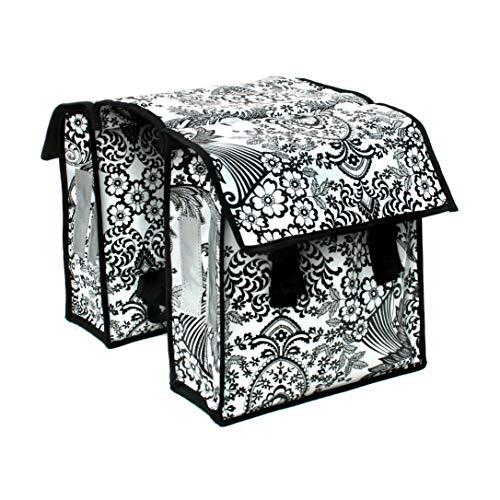 IKURI Kinderfahrradtasche Wasserdicht - kleine Fahrradtasche für Klapprad oder Faltrad Gepäckträgertasche Wachstuch - Modell Eden Weiss