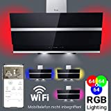 Dunstabzugshaube Wandhaube 90cm kopffrei/RGBW Beleuchtung/LED-Anzeige/Touch/extra leise/Smart APP