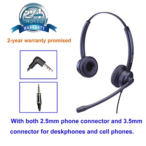 2,5mm Telefon Headset Kopfhörer 2 5 mm klinke Call Center Headset mit Noise Cancelling Mikrofon für Cisco Polycom Grandstream Panasonic Plus 3,5mm Klinke für Handy iPhone Samsung (Call Center Telefon Headset)