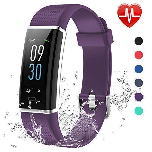 Lintelek Montre Cardiofréquencemètre, Tracker d'Activité Écran Coloré avec Moniteur de Sommeil, Réveil, Notifications, Bluetooth Podomètre IP68 Etanche Montre GPS Connectée pour Femme Homme