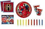 Kit complet Spider man l'araignée, marvel, comics ,décoration fête anniversaire pour 6/8 enfants (Assiettes, serviettes, gobelets, invitations , 24 bougies) + 1 cadeau Surprise dans votre colis*
