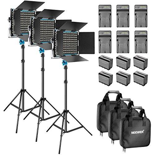 Neewer 3 Pack Dimmbares Bi-Farbe 660 LED Videoleuchte mit Barndoor und 92cm Lichtständer und 6 Pack Wiederaufladbare 6600mAh Li-Ion-Akkus und Ladegerät für Fotostudio