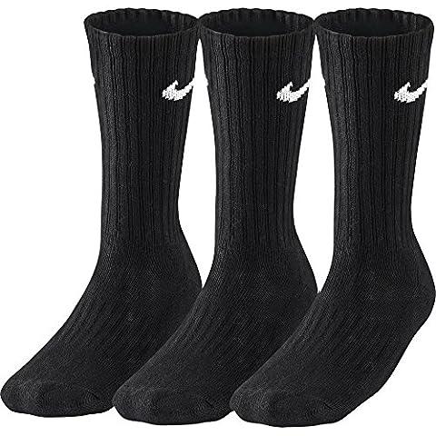 Nike 3PPK Value Cotton Crew - Calcetines unisex, color negro/ blanco, talla M/ 38-42