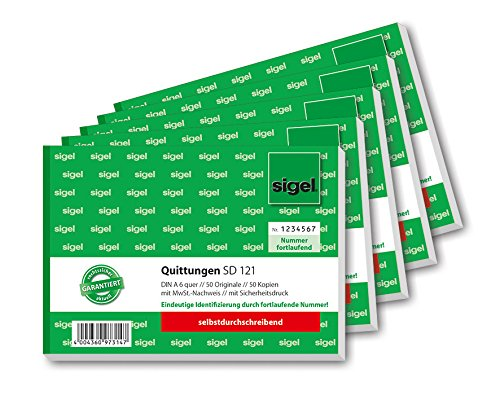 SIGEL SD121/5 Quittungsblock fortlaufend nummeriert, A6 quer, 2x50Blatt, selbstdurchschreibend, 5er Pack
