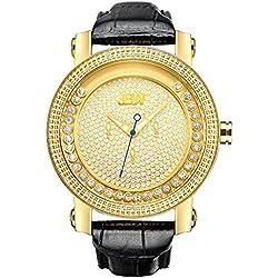 "Just Bling Herren JB-6211L-A ""Hendrix"" Gold-Tone Multi-Function Leder Diamond Watch"