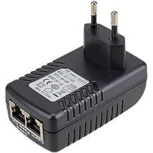 WEONE La oferta sobre DC 24V 1A PoE Inyector de alimentación Adaptador Ethernet Con indicador de encendido LED azul Para apoyar 12V 24V POE dispositivo enchufe de la UE
