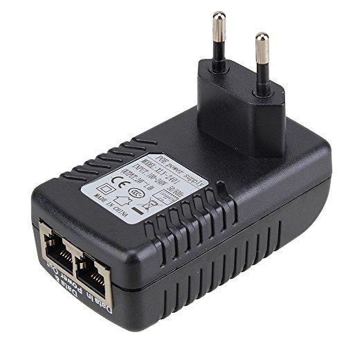 Preisvergleich Produktbild WEONE DC 24V 1A PoE-Injektor Stromversorgung über Ethernet-Adapter mit blauen LED-Betriebsanzeige für Unterstützung 12V 24V POE Geräte EU-Stecker