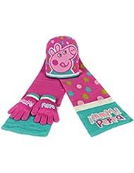 Peppa Pig 2200000349 - Set de 3 piezas con bufanda, gorro y guantes para niños, color amarillo, talla única