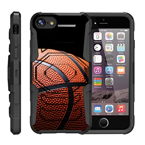 �lle für Apple iPhone 7 Plus (5,5 Zoll) [Octo Guard] Heavy Impact Proof Silikon Case Tough Hard Kickstand Belt Clip Sport and Games Design -, Basketball Seams ()