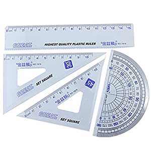 4pièces en plastique transparent bleu Géométrie Règle Combinaison Jeux