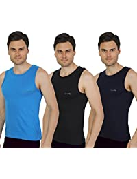 Semantic Pack Of 3 - Mens Gym Vest - 100% Cotton - Size S, M, L & XL (Small, Medium, Large & Extra Large) 70 To...