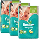 204 Couches Pampers Baby Dry Taille 3 + Midi + (5-10 kg)