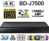 SAMSUNG BD-J7500 - 4K UPSCALING PLAYER- 2D/3D - Wi-Fi - Multi System Region Free Blu Ray Disc DVD Player - DUAL HDMI - PAL/NTSC - USB - 100-240V 50/60Hz + 6 Feet UHD HDMI Cable