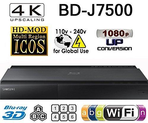 SAMSUNG BD-J7500 4K UPSCALING PLAYER- 2D/3D - Wi-Fi Multi System Region Free Blu Ray Disc DVD Player
