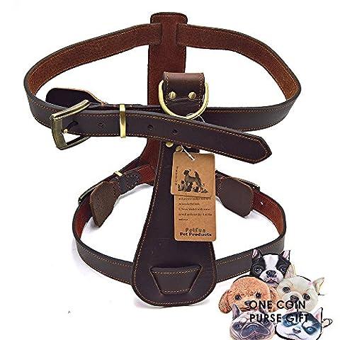 petfun Hund Exklusive Verstellbare Geschirr aus echtem Leder für Attack/Schutz Training und den täglichen Walking …