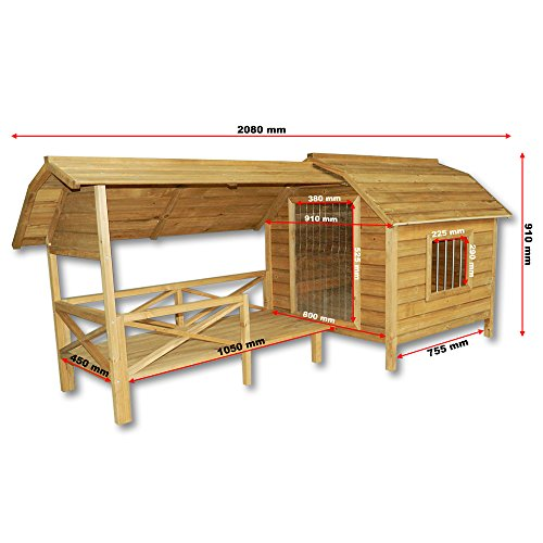 XXL Hundehütte Hundehaus Holz Balkon Garten Terrasse Lamellentüre Hund - 4