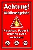 Aufkleber – Achtung Waldbrandgefahr - Rauchen, Feuer und offenes Licht verboten - 60x40cm – S00359-076-D +++ in 20 Varianten erhältlich