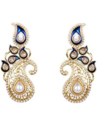 White pearl blue meenakari earrings
