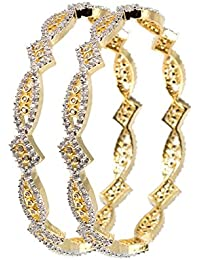 DeAaaStyle Fashion Gold Plated American Diamond Bangles For Women And Girls Size 2.6
