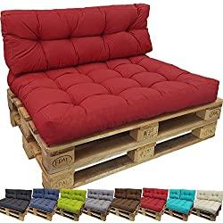 PROHEIM Cojines palés Tino Lounge Ideales para Exteriores - 1 cojín de Asiento 120 x 80 x 15 cm + 1 cojín de Respaldo Largo 120 x 40 x 10-20 cm, Color:Rojo