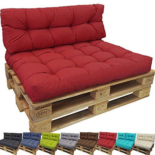 PROHEIM Outdoor Palettenkissen Lounge Palettensofa Indoor/Outdoor schmutz- und Wasserabweisende Palettenauflage Palettenpolster für Europaletten, Farbe:Rot, Variante:Sitzkissen