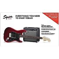 Fender Squier Affinity Pack HSS Guitarra eléctrica con amplificador Frontman 15G y accesorios, color rojo