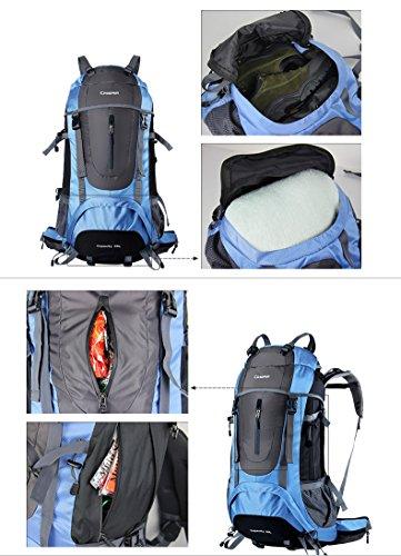 YAAGLE Outdoor Bergsteigen Tasche Trekking Reisetasche Rucksack Gepäck groß Fassungsvermögen Reiserucksack 60 L-blau blau