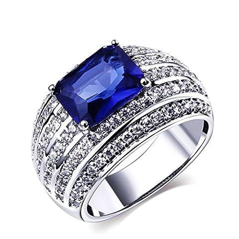 Bishilin 4-Steg-Krappenfassung Damen Hochzeitringe Bands Blau Saphir(Labor Erstellt Sapphire) Größe 54 (17.2)
