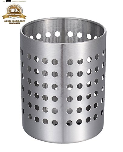 KSENDALO Premium Kitchen Utensil Holder, Strong & Durable 18/8 Stainless Steel Flatware Caddy/Cutlery Organizr, Spatula Cookware Cutlery Drying Storage Organizer(Dia.110mm)
