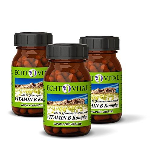 ECHT VITAL VITAMIN B KOMPLEX | Sparpaket | alle 8 B-Vitamine | hochdosiert & natürlich - aus Quinoasprossen | 180 Vit B Komplex Kapseln | ohne Magnesiumstearat | vegan | hergestellt und kontrolliert in Deutschland