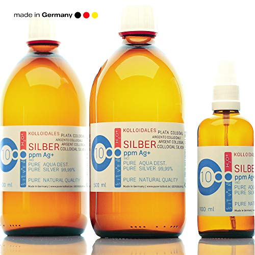 PureSilverH2O Kolloidales Silber 10PPM 1100ml (2 * 500ml) & Spray (100ml) Silberwasser 100{64bbc568472504b1cf8658586202e07721b0cf7fdb32f3ef082b76e5ad7d9304} frisch & effektiv