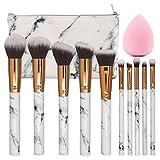 SEPROFE Make Up Brushes 10 Pieces Marble Pattern Professional Makeup Brush Set Kabuki