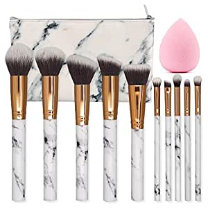 Seprofe Make Up Brushes 10 Pieces Marble Pattern