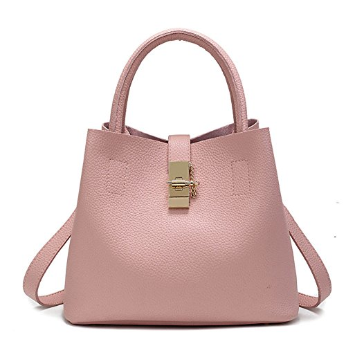 Schnalle Hobo Handtasche (DCRYWRX Frauen Schulter Tote Messenger Bag Handtasche Quaste PU Leder Geldbörse Mode Schloss Schnalle Mutter Tasche Hobo Handtaschen,Pink)
