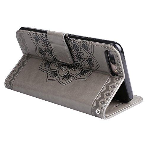 Für iPhone 7 Plus 5.5Zoll Flip PU Leder Brieftasche, Herzzer Klassisch Jahrgang [Mandala Blume Muster] Tasche Handy Case Schutz Hüllen im Bookstyle Handyhülle Ledertasche mit Stand Funktion Kartenfäch Grau
