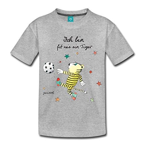 Spreadshirt Janosch Fit Wie Der Kleine Tiger Fußball Kinder Premium T-Shirt, 122/128 (6 Jahre), Grau meliert (Mädchen Fußball-t-shirt Dribbeln,)