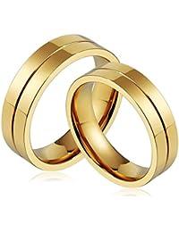 Bishilin 2 PCS Acero Inoxidable Anillos para Hombres Mujeres Alto Pulido Ronda Ancho 6MM  Anillos Pareja Anillos de Boda Oro