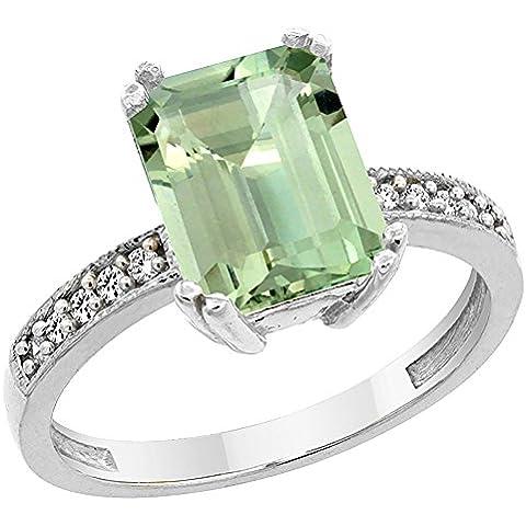 Revoni-Bracciale in oro bianco 14 kt e ametista verde, ottagonale anello, 10 x 8 mm, dettagli in brillantini